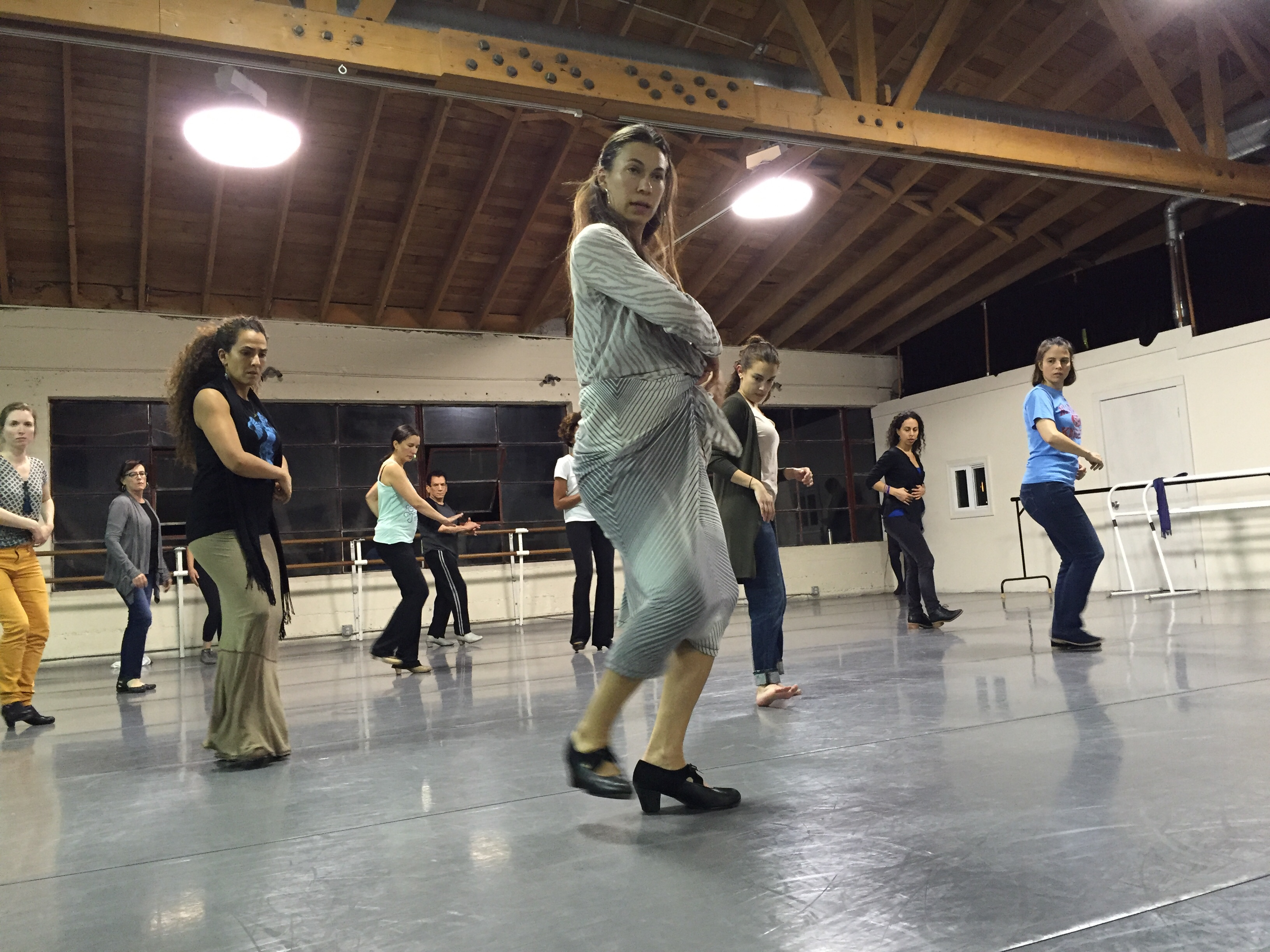 Clara Rodruiguez leads a class learning Farruquito's flash mob choreography last week in San Francisco