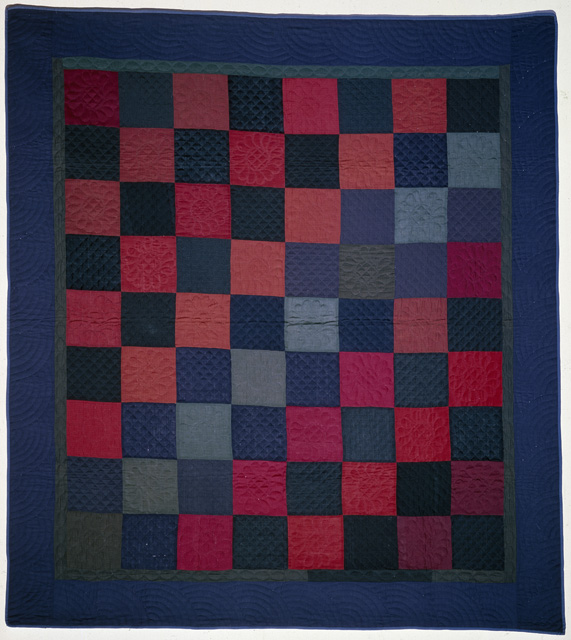 "Quilt, ""Checkerboard"" pattern, ca. 1900."