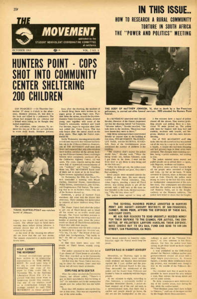 The Student Non-Violent Coordinating Committee coverage of the riots following the shooting of Matthew Johnson in September 1966, during which Bayview residents sought shelter from the National Guard and police in the Bayview Opera House