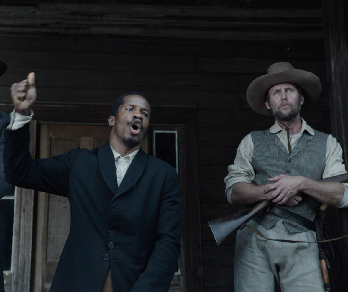 "Armie Hammer as ""Samuel Turner,"" Nate Parker as ""Nat Turner"" and Jayson Warner Smith as ""Earl Fowler"" in 'The Birth of A Nation.'"