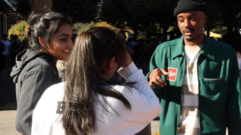 Caleborate with fans at Sproul Plaza, UC Berkeley.