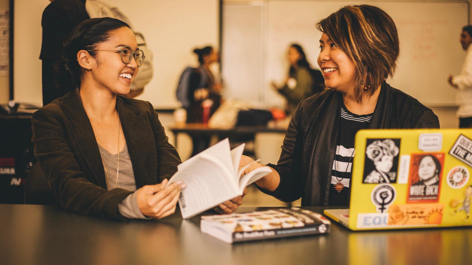 Janice Sapigao and student at Skyline College.