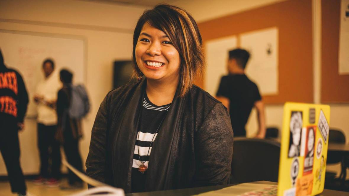 At Skyline College, Janice Sapigao teaches students to find their own voice through the study of hip-hop. Photo: CJ Raygoza