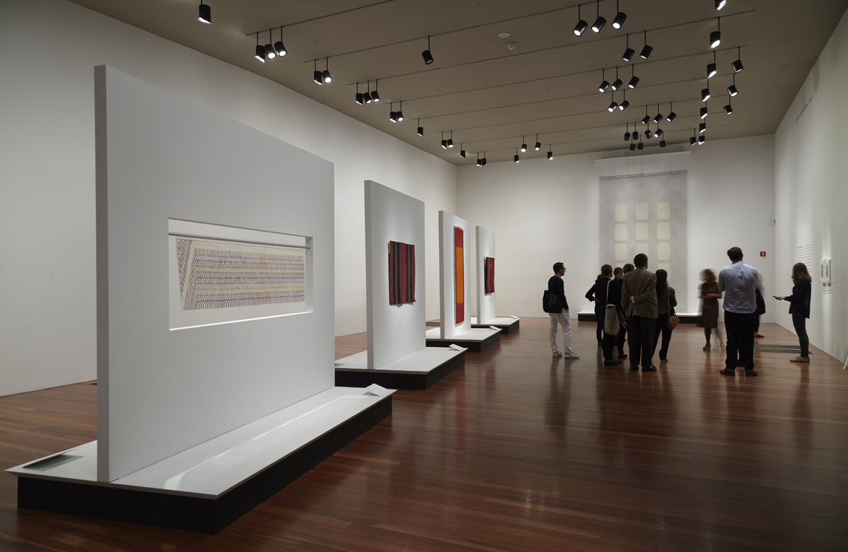 Installation view of 'On the Grid: Textiles and Minimalism.'
