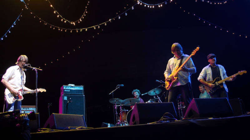 Stephen Malkmus, Scott Kannberg and Mark Ibold of the band Pavement perform during day three of the Coachella Valley Music & Arts Festival 2010