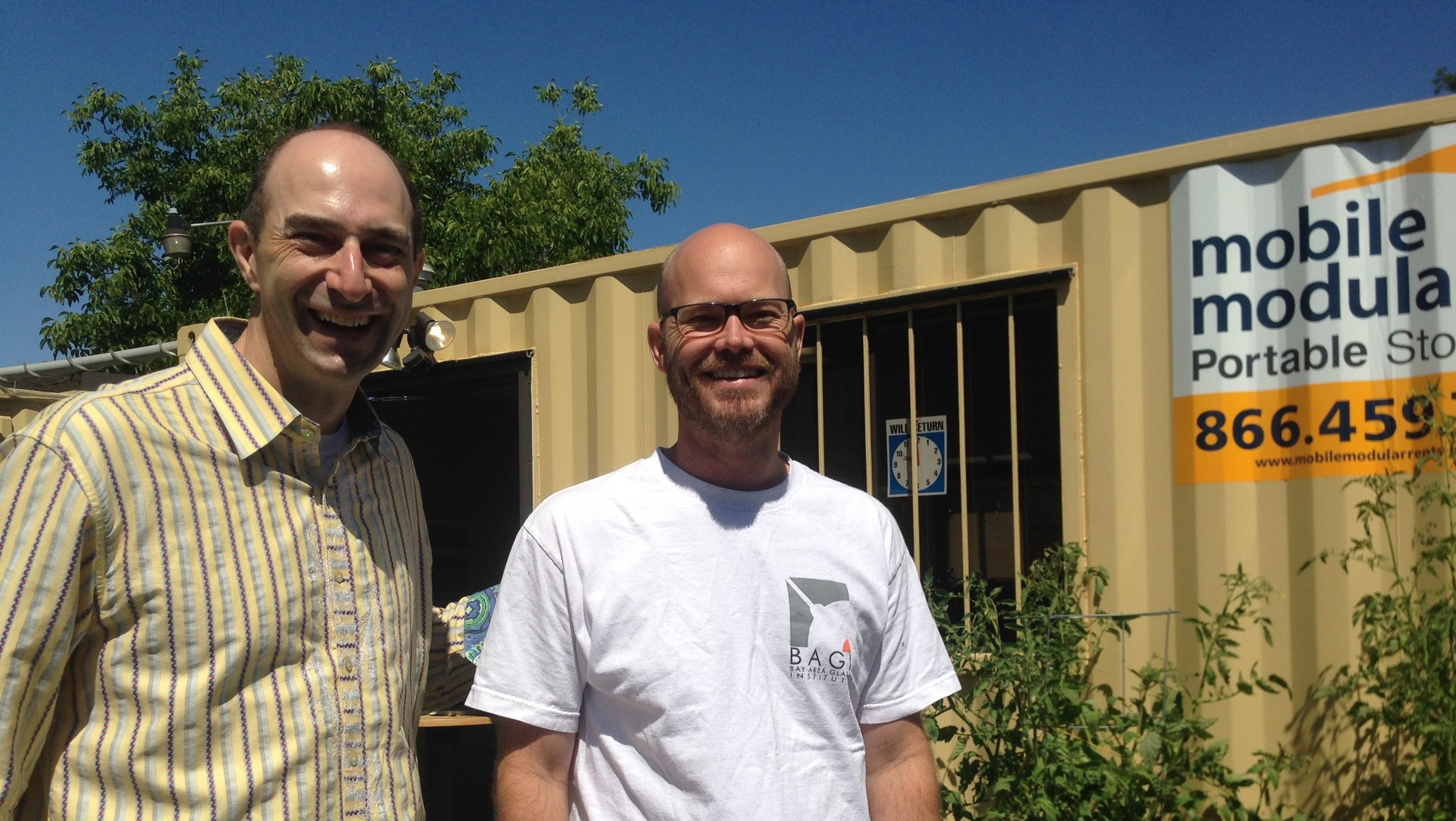 BAGI Board Chair Steven Aldrich (l) and Executive Director Damon Gustafson (r) say they're thrilled to have found a permanent home at History San José. Another $90,000, and they'll be able to move out of shipping containers and into a warehouse next door.