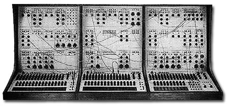 "A Buchla 100 series, which Buchla designed to help avant garde composers move away from the difficult tape splicing work required of ""Musique Concrete"""