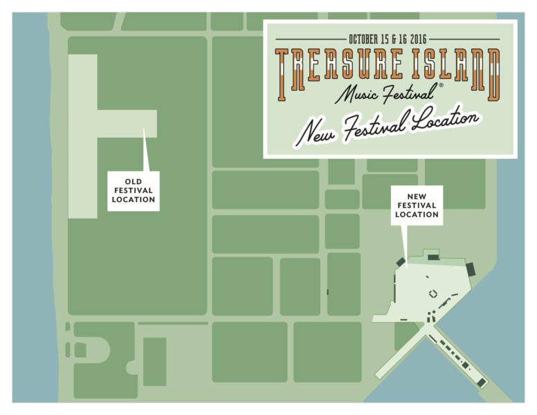 Treasure Island Music Festival moves to the island's eastern shore.