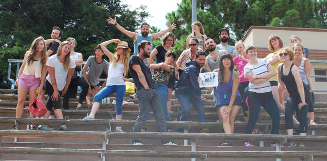 Stairwell's Field Trip participants pose a la New Kids on the Block at an event in Kezar Stadium, 2015.