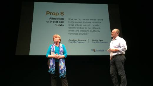 Homeless Prenatal Program Executive Director Martha Ryan and Yerba Buena Center for the Arts Chief of Civic Engagement Jonathan Moscone at a recent rally for Proposition S on the San Francisco Ballot