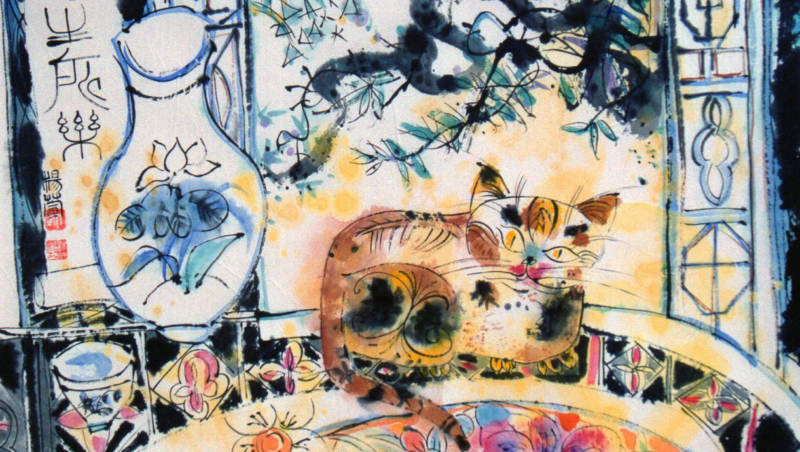 "Detail from ""Cat At Window,"" by Belle Yang. Steeped in Chinese tradition, but also evocative of Henri Matisse and Marc Chagall."