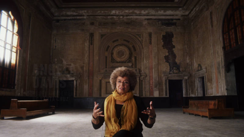 Angela Davis speaks inside West Oakland's abandoned 16th Street train station, in a still from Ava DuVernay's '13th.'