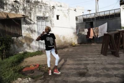 A model wears Madow Futur's apparel.