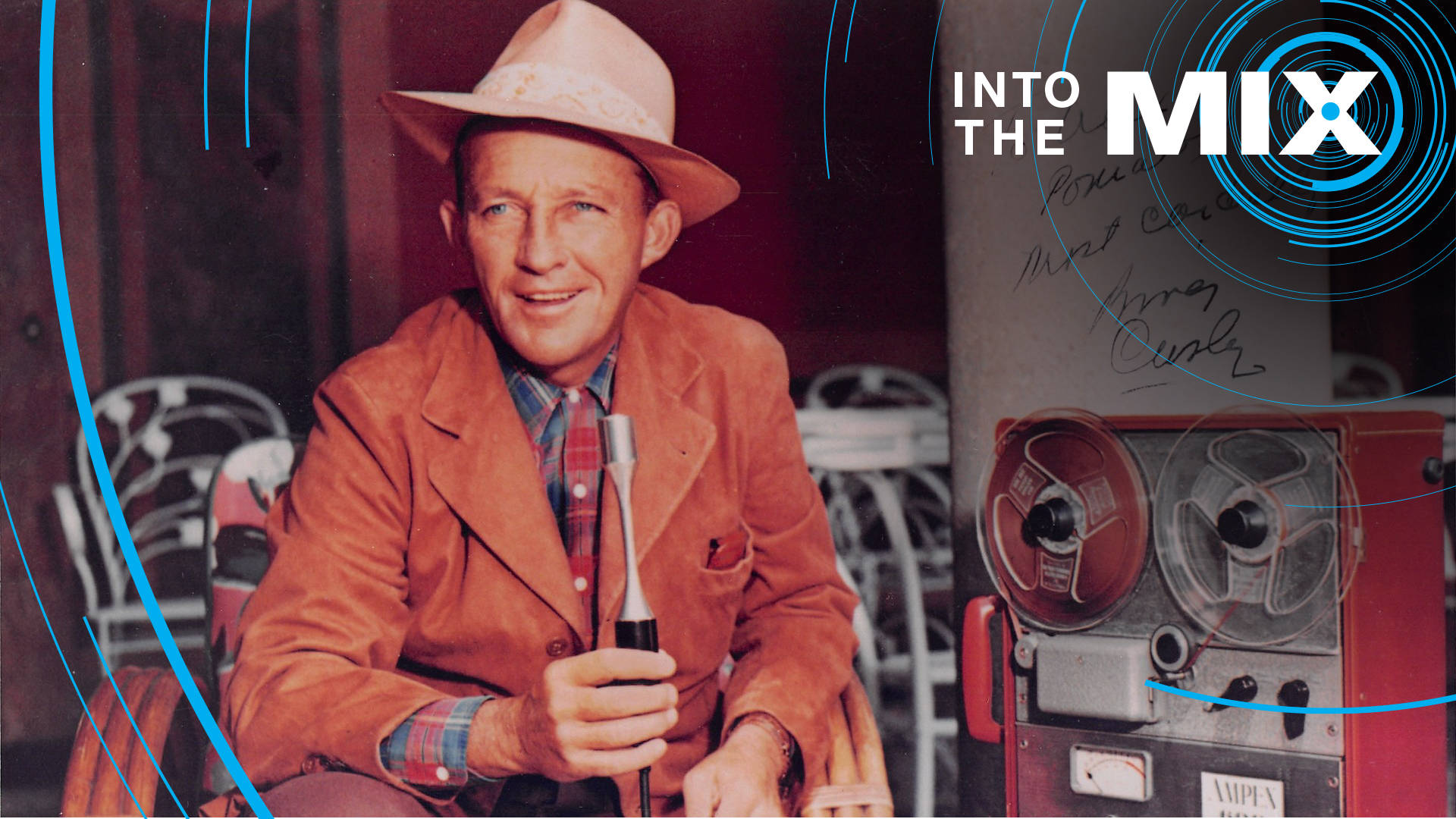 "A autographed photo of Bing Crosby with an Ampex 600. The note says ""To Alexander Poniatoff, Most Cordially."" Poniatoff was the electrical engineer who founded Ampex. Photo: Courtesy of Department of Special Collections, Stanford University Libraries"