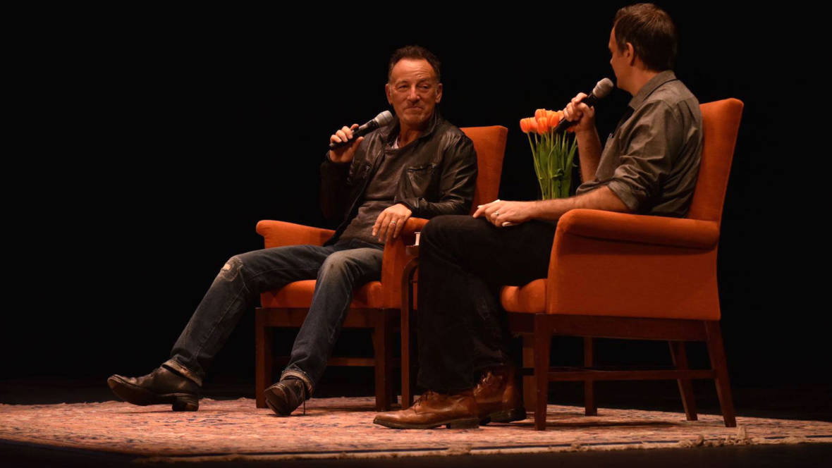 Bruce Springsteen talks with interviewer Dan Stone for a City Arts & Lectures event at the Nourse Theater in San Francisco, Oct. 5, 2016. Photo: Seth Golub/City Arts & Lectures