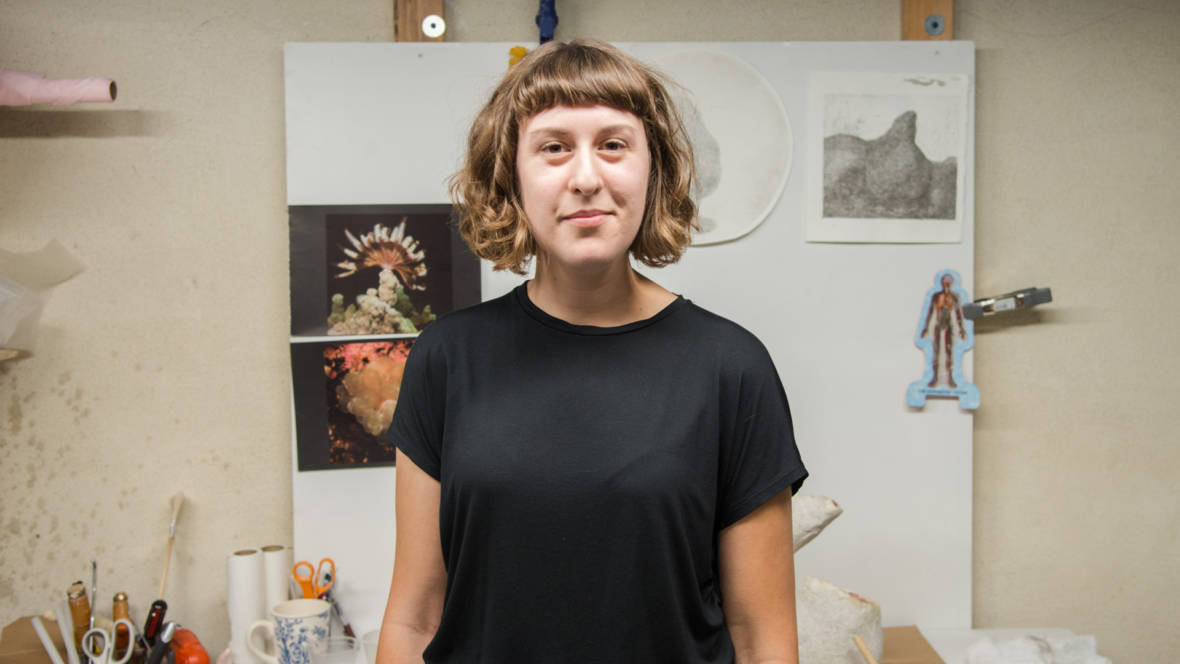 Alyssa Lempesis in her West Oakland studio inside Aggregate Space Gallery. Photo: Graham Holoch / KQED