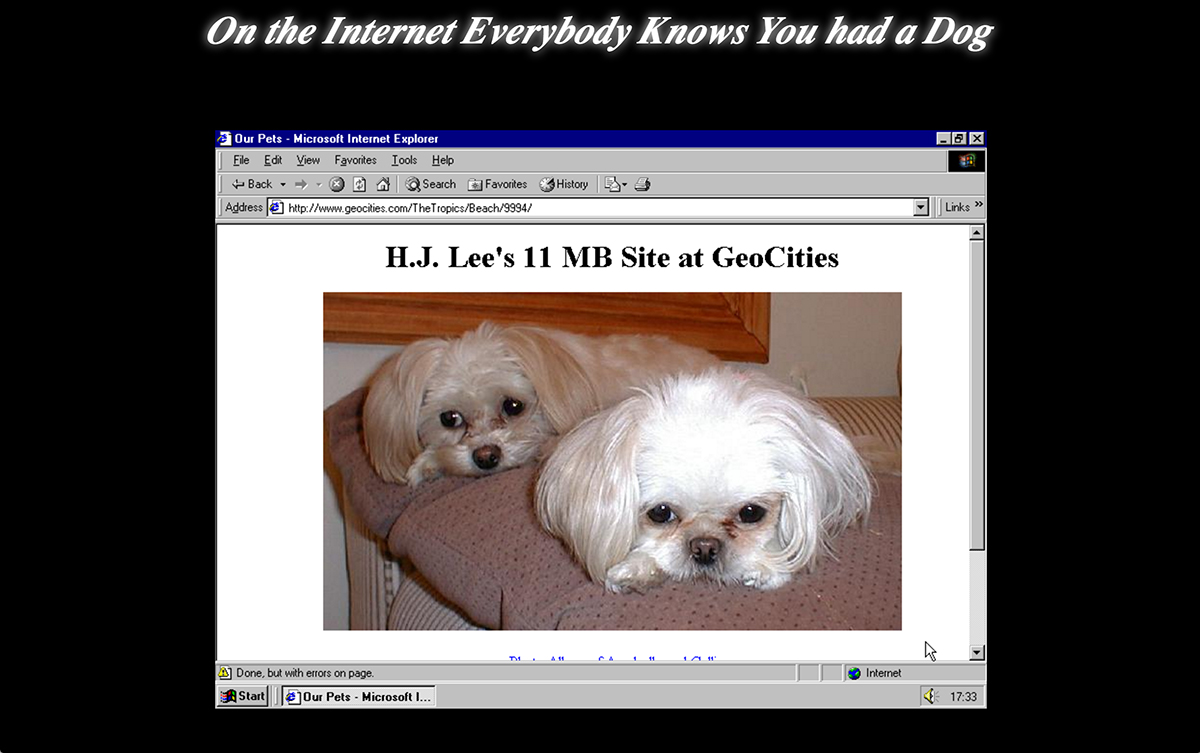 Screen capture from Olia Lialina's 'on the internet everybody knows you had a dog.'