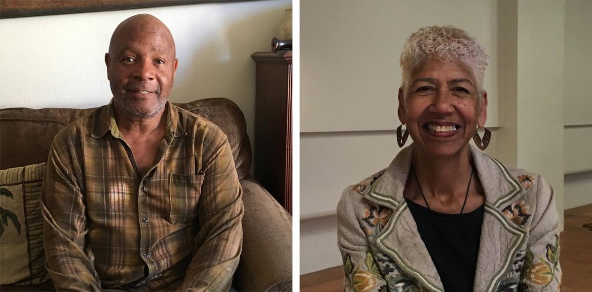 Emory Douglas at his home in San Francisco. Sep. 23, 2016; Ericka Huggins at Impact Hub Oakland, Sep. 14, 2016.