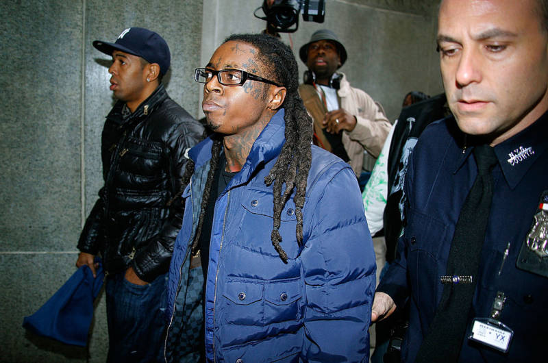 Lil Wayne arrives in court for weapon charges at the New York State Supreme Court in December 2009.
