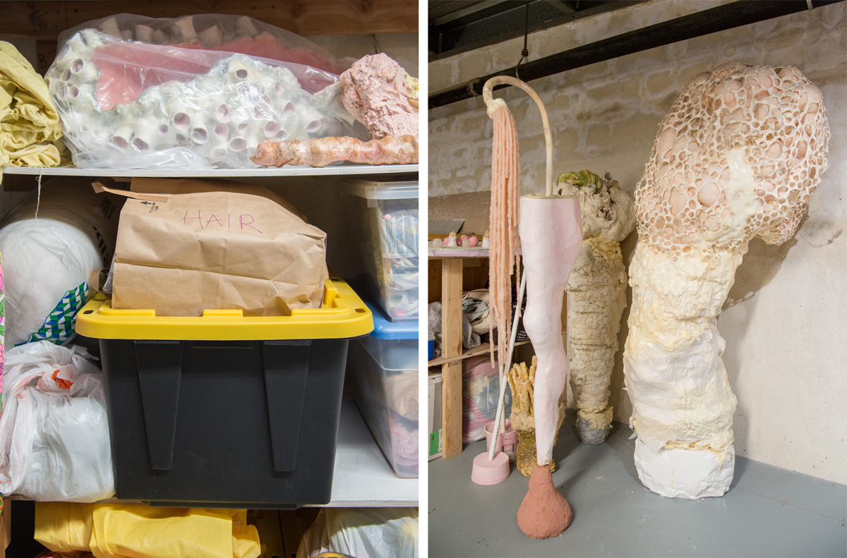 Material and artwork storage in Lempesis' studio; Sculptures 'flick,' 'crumb' and 'clot,' from left to right.