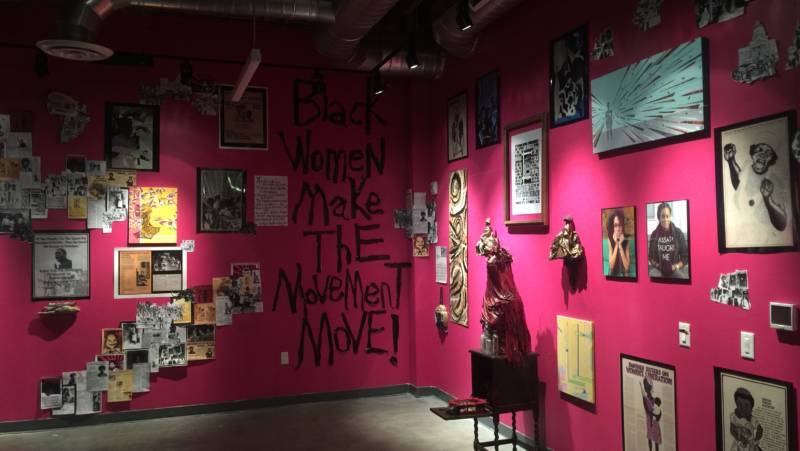 The 'Comrade Sister' shrine honoring prominent women of the Black Panther Party at Impact Hub Oakland's Omi Gallery.