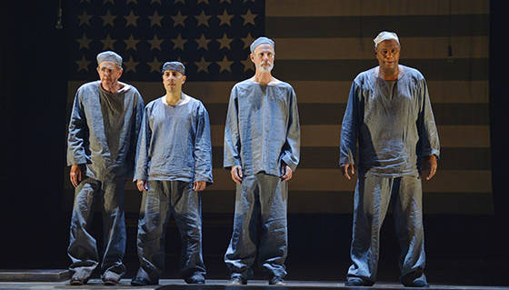 (L to R) Buck Titus (David Kelly), Karl Pascal (Gerardo Rodriguez), Doremus Jessup (Tom Nelis), and John Pollikop (Mark Kenneth Smaltz) are political prisoners in 'It Can't Happen Here' at the Berkeley Rep.