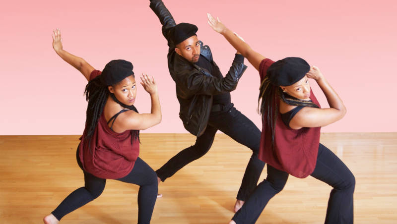 Dimensions Dance Theater company mmebers in a scene from 'Project Panther'. Left to Right: Marianna Hester, Justin Sharlman, Phylicia Stroud.