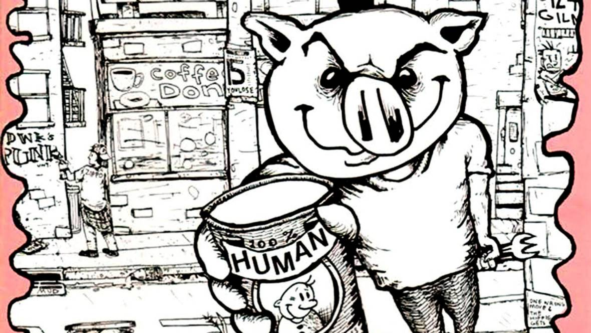 Detail from 'Can of Pork,' an early Lookout Records compilation. Illustration: Chris Appelgren