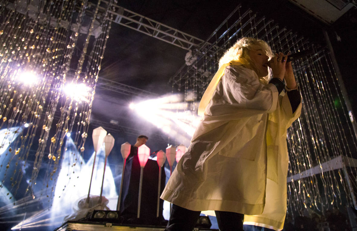Purity Ring performs in ponchos at the Treasure Island Music Festival on Oct. 16, 2016.  Estefany Gonzalez