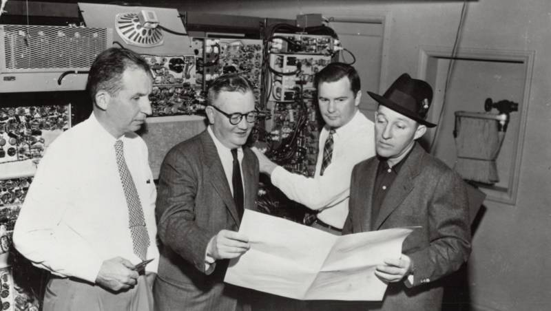 The team at Bing Crosby Enterprises attempting to invent the first video tape recorder. On the far left: Jack Mullin, who introduced audio tape recording to the U.S.. On the far right: Bing Crosby. Ampex would beat Mullin and BCE to the punch.