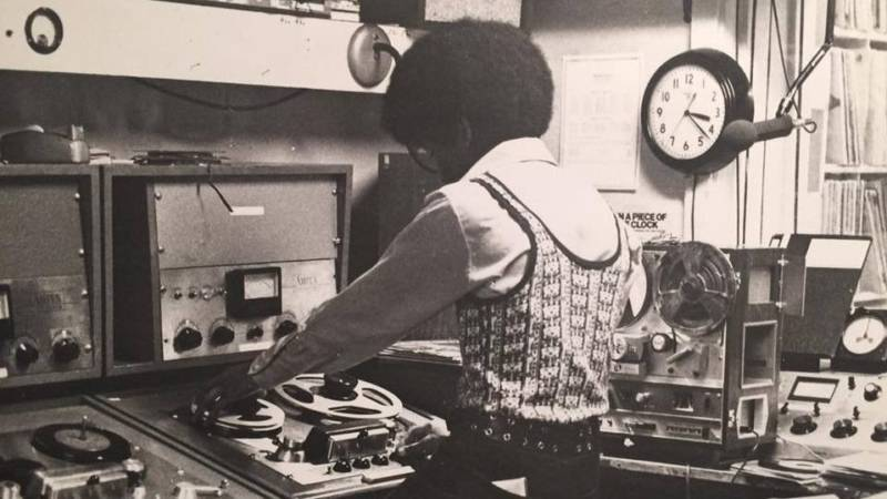Keven Guillory, editing a spot at KRE AM & FM in Berkeley, circa 1973.
