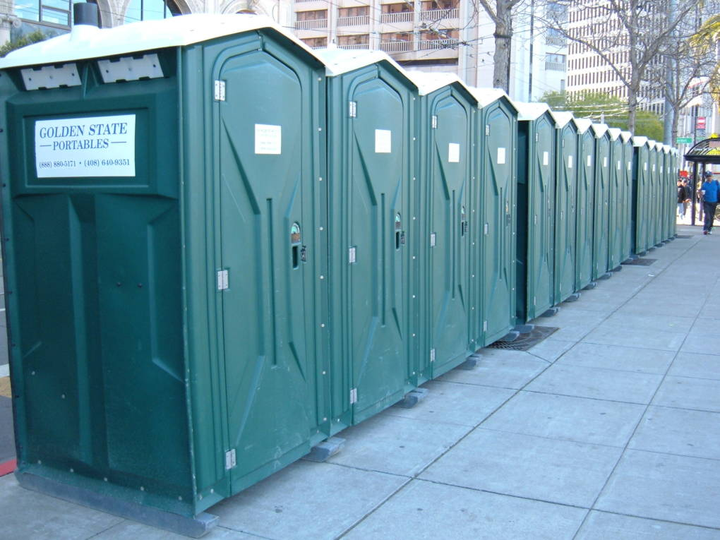 A row of Golden State Portables set up in San Francisco during the 2008 Olympic Torch Relay.