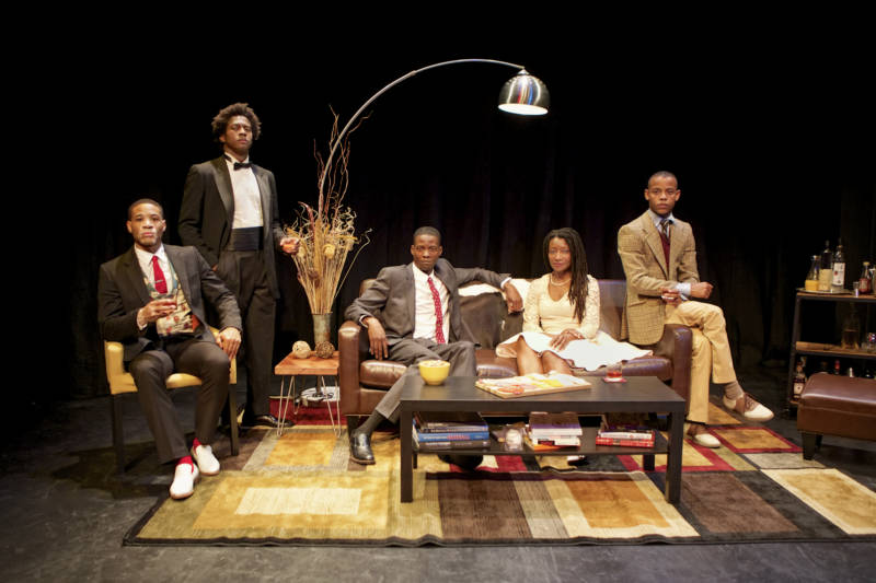 (L to R) William Hartfield, Nican Robinson, Howard Johnson Jr., Nkechie Emeruwa, and Michael Wayne Turner III in Crowded Fire's 'The Shipment' by Young Jean Lee.