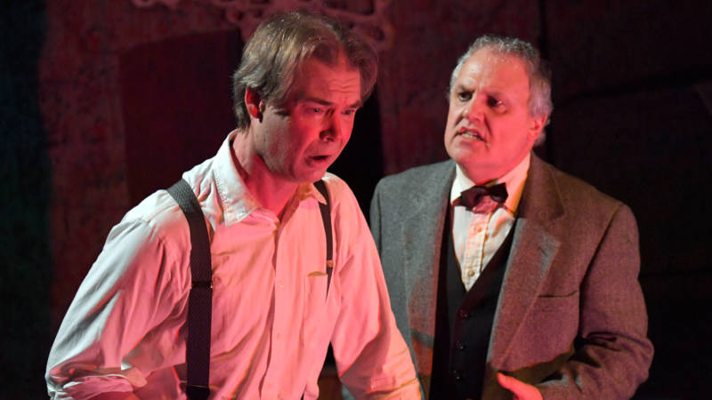 (L to R) Dan Foley as an out of control alcoholic and CJ Smith as his mysterious doctor in the Thrillpeddlers' production of 'The Hellgrammite Method' by William Selby.