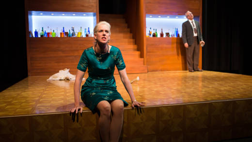 (L to R) Martha (Beth Wilmurt) seethes at the world as her husband George (David Sinako) looks on in the Shotgun Players' production of 'Who's Afraid of Virginia Woolf?' by Edward Albee.