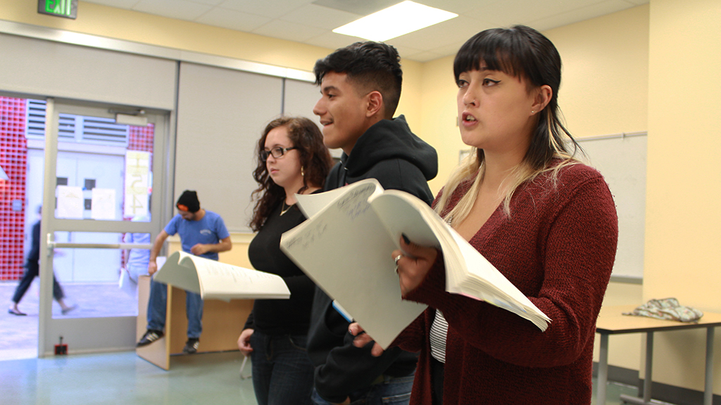 "Actors Melissa Gomez, Luis Ramirez Martinez and Nikki Nutterfield rehearse a scene from ""On The Hill."""