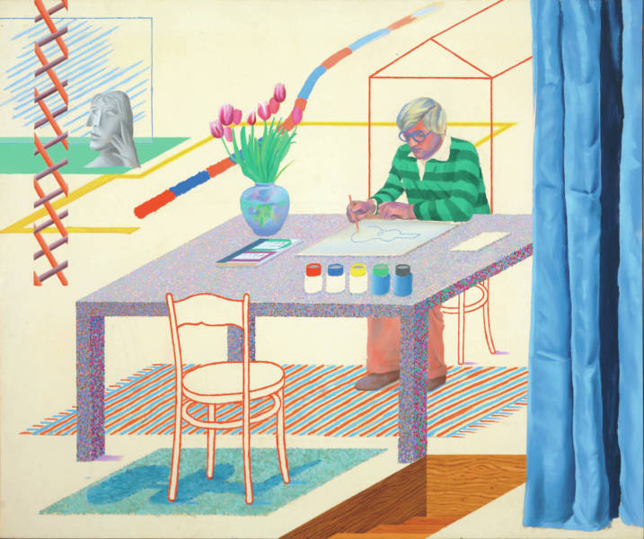 "Hockney painted ""Self-Portrait with Blue Guitar"" in 1977."