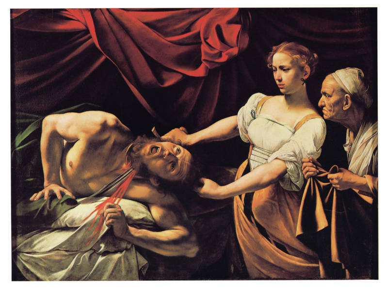 "Hockney says late 16th century Italian painter Caravaggio ""invented Hollywood lighting."" Above is his 1599 work, ""Judith Beheading Holofernes."""