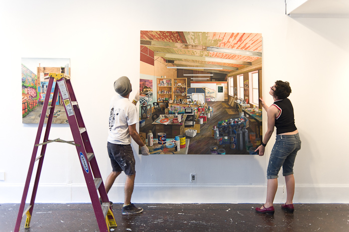Jessica Hess and Spencer Keeton Cunningham installing of 'It Finds You' at White Walls.