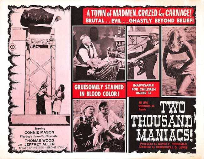 Poster for Lewis' 'Two Thousand Maniacs!'