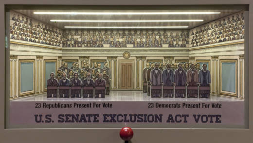 Diorama of the passing of the Chinese Exclusion Act of 1882.