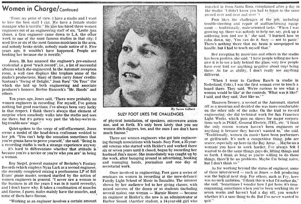"An article titled ""Women Who Take Charge In the Sound Studios,"" featuring Susie Foot, published July 12, 1981."