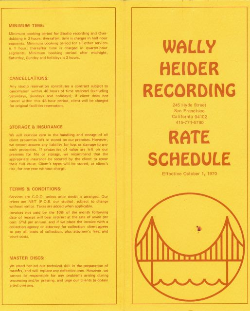 A rate card from Wally Heider Recording, 1970.