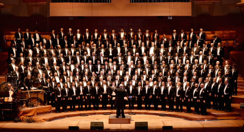 The San Francisco Gay Men's Chorus in performance at Davies Symphony Hall in 2015