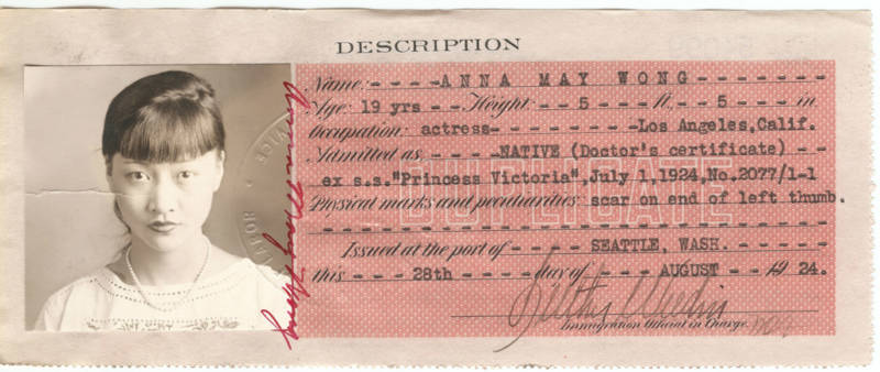 Anna May Wong - Certificate of Identity from the National Archives