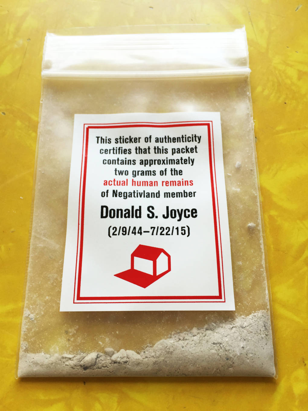 Package of Don Joyce's ashes