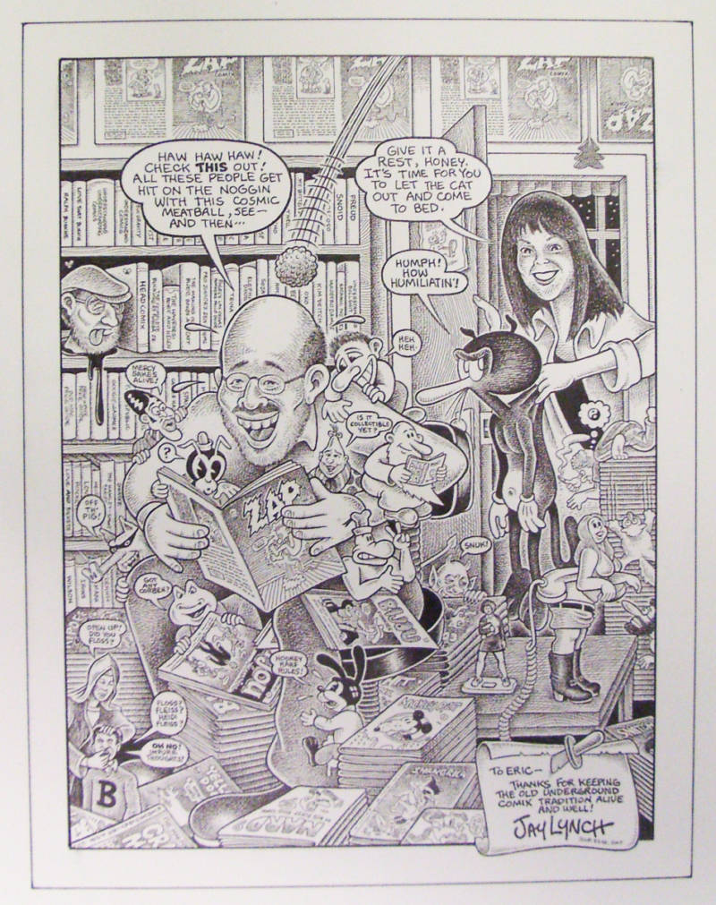 Drawing of comic collector Eric Sack by artist Jim Lyons