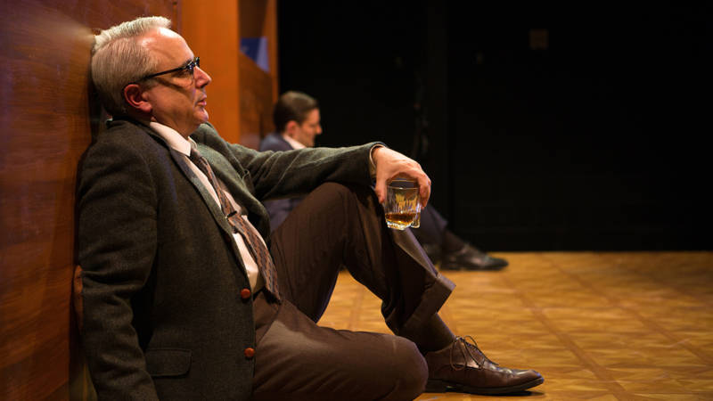 George (David Sinaiko) thinks of rodents and humans as Nick (Josh Schell) stays drunk in The Shotgun Players' production of 'Who's Afraid of Virginia Woolf?' by Edward Albee.