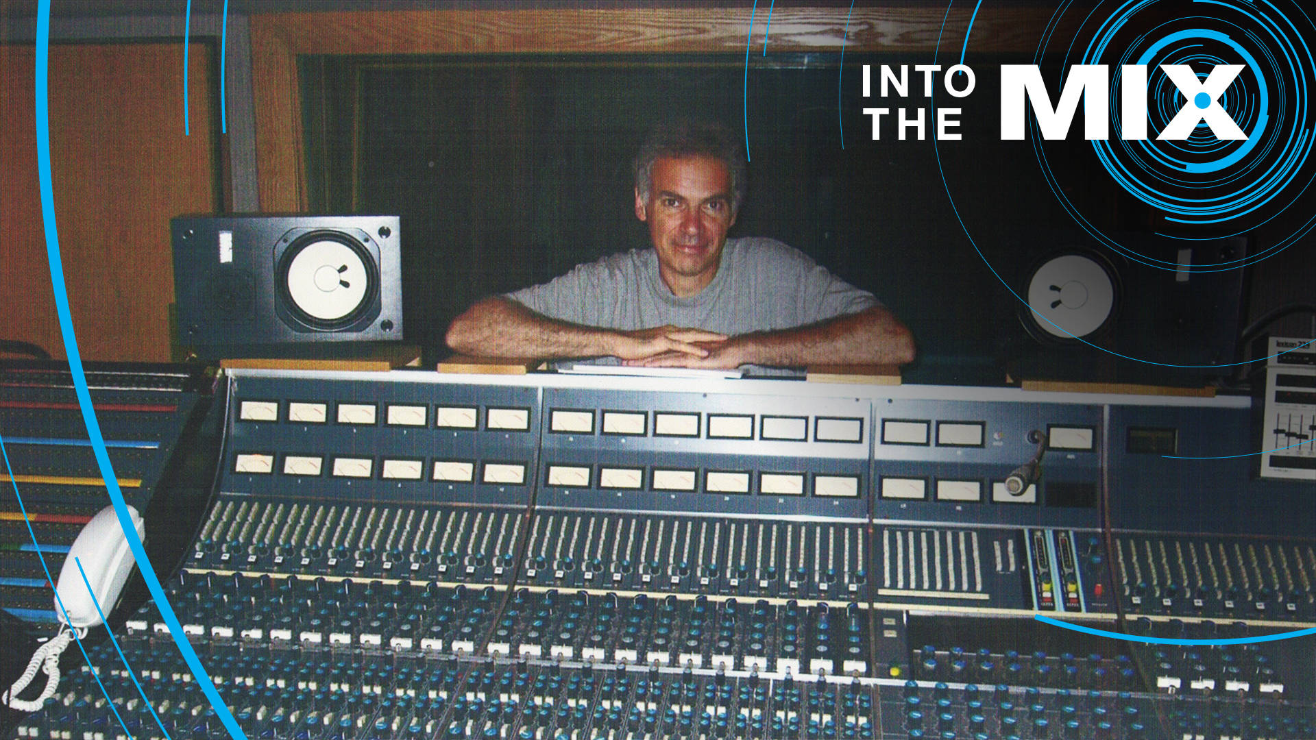 Oliver DiCicco with his old 24-track Neve mixing console. Photo: Courtesy of Oliver DiCicco