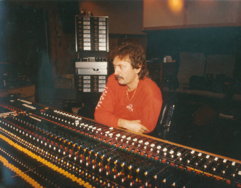 Jim Gaines at the board during a recording session at the Record Plant in Sausalito